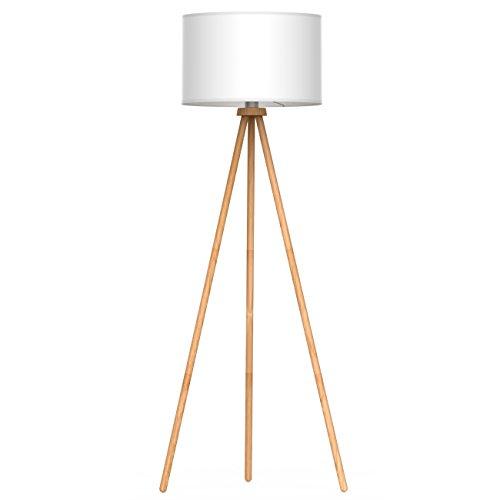 Tomons Lampada da Terra LED Piantana Retro Vintage Lampada da pavimento Lampada a Stelo in Legno Treppiede, Paralume Classico, con Rimovibile per Soggiorno, Camera