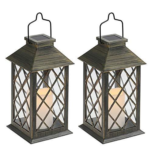 Tomshine - Lanterna a energia solare, 2 pezzi, con effetto candela, lampada solare per esterni, decorazione da giardino, effetto candela [Classe energetica A+]