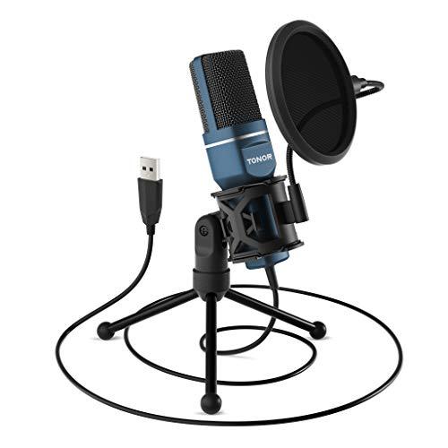 TONOR PC Microfono USB Condensatore per Computer Gioco Mic Plug & Play con Treppiede e Filtro Pop per Registrazione Vocale, Podcasting, Streaming, Video di Youtube per Laptop PC Desktop