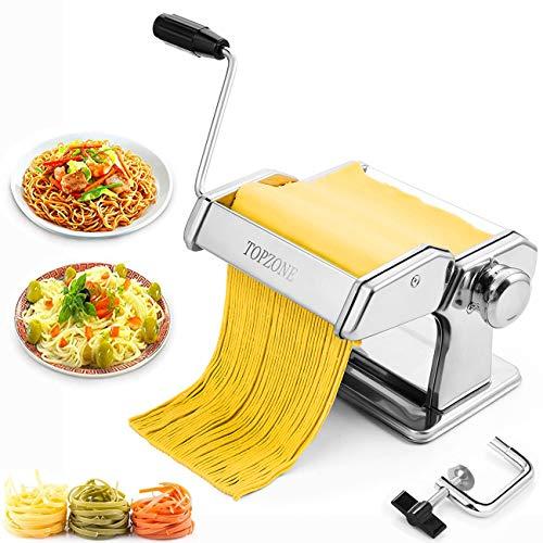 Tooluck Macchina per Pasta, Rullo per Pasta Manuale con 2 in 1 Cutter Dough Cutter E 7 Regolazione dello Spessore Regolabile per La Pasta Fatta in Casa, Spaghetti, Fettuccine,Regalo Migliore Cucina.