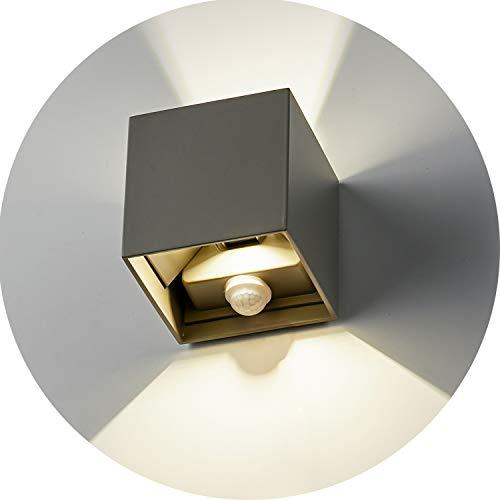 Topmo-plus 12W Applique da Parete LED con sensore di movimento per esterni/interni Luci da muro orientabile/Puri COB/impermeabile Faretto da Parete Sensore per giardino/Ingresso/Portico (grigio)