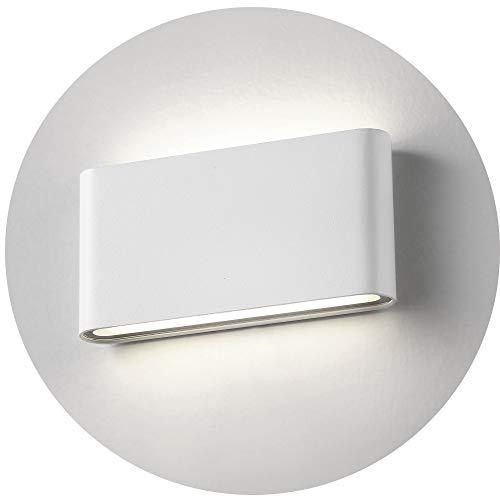 Topmo-plus 12w lampada da parete a LED Lampada Muro in Alluminio Applique da parete Esterna impermeabile IP65 17,5 x 9 x 3,5 cm (Bianco/bianco natural)
