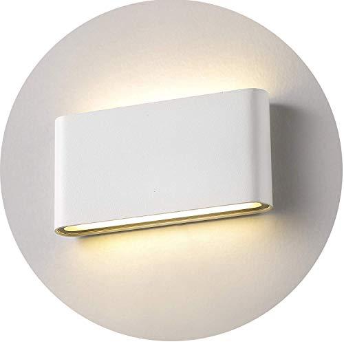 Topmo-plus 12w lampada da parete a LED Lampada Muro in Alluminio Applique da parete Esterna impermeabile IP65 18 cm (Bianco/Bianco caldo)