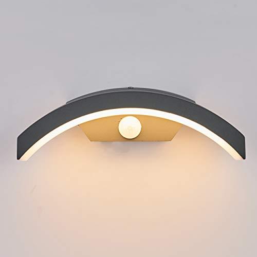 Topmo-plus 24W Lampada da Parete a LED con Sensore Di Movimento lampade esterne Applique alluminio/PC IP65 / Osram SMD lampadina Terrazza/Giardino/Corridoio / 3000K bianco caldo 27CM grigio