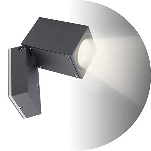 Topmo-plus 5W Lámpara da parete Muro Applique design per interno/esterno waterproof IP65 alluminio Faretto soggiorno/terrazzo/giardino GU10 Luci inclusa 4000K bianco naturo 10CM grigio