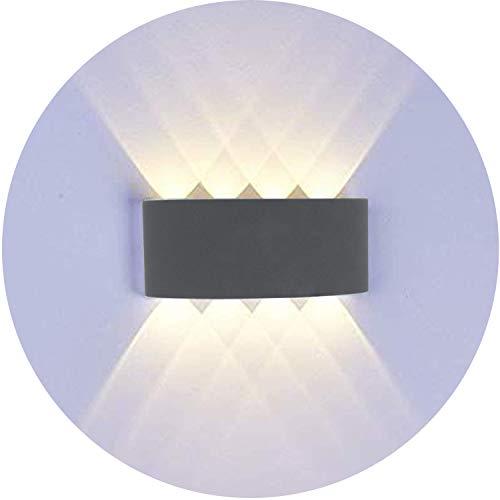 Topmo-plus 8W lampada da parete a LED Lampada Muro Alluminio Applique da parete Esterne interne / 8W Puri COB Su e Giù design impermeabile IP65 scala corridoio soggiorno (8W grigio / bianco caldo)