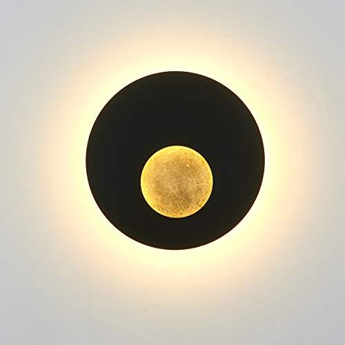 Topmo-plus Applique Creatività Applique da Parete eclissi di sole Luci da Parete eclissi di luna moderna / 18W EPISTAR COB nero + oro per Camera da letto, Soggiorno, Corridoio, Scale 9,84 inch 3000K