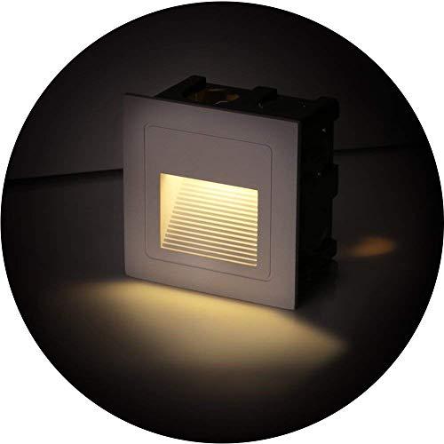 Topmo-plus Set di 4 Faretto da incasso a LED da 3W Luce spotlight Faretti Lampada da parete terreno alluminio piazza con le lampadine Esterne interne impermeabile 330LM 6 x 6 x 4,6 CM (bianco caldo)
