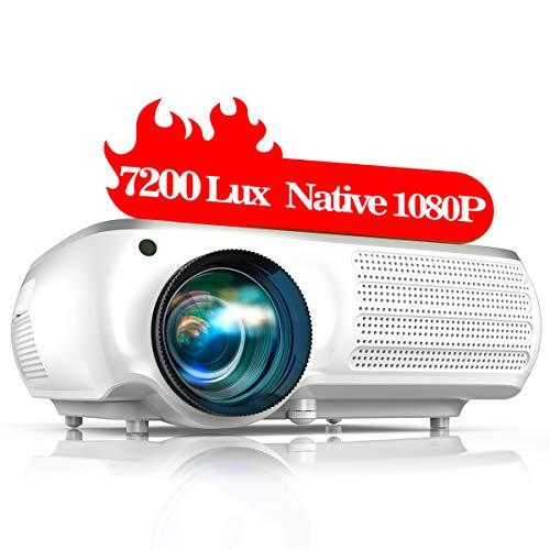 """TOPTRO Proiettore,7200 Lumens Aggiornato Videoproiettore Full HD 1920x1080P Nativa,Supporta Video 4K,Schermo da 350 """"con Correzione Trapezoidale 4D,Ideale LCD Home Theater Proiettore"""