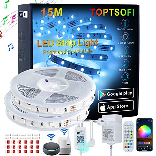 TOPTSOFI Striscia LED Alexa 15m Music Sync LED Striscia, Strisce LED RGB di Controllo APP WIFI, Luci LED Camera da letto Decorazioni Casa Feste, LED Colorati per camera Funziona con Alexa Google Home