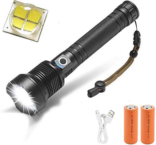 Torcia LED Alta Potenza 8000 lumen, Windfire LED Torcia XHP70 Ricaricabile USB con Zoom 3 Modalità di illuminazione per Campeggio, Sport All'aperto [Classe di efficienza energetica A]