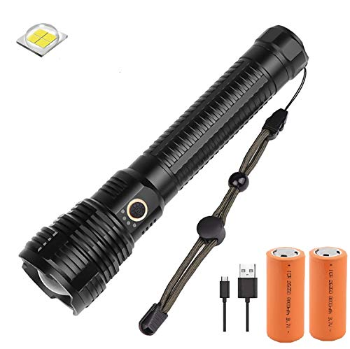 Torcia LED Alta Potenza 8000 Lumen, Windfire XHP70 Torcia Ricaricabile USB con Impermeabile 5 modalità di illuminazione Fuoco Regolabile [Classe di efficienza energetica A]
