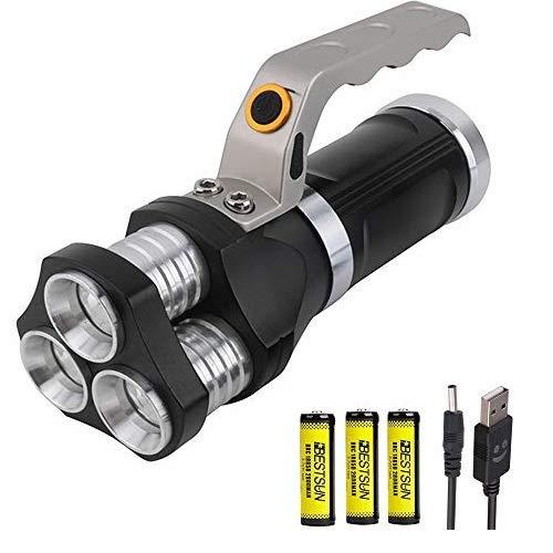 Torcia LED ricaricabile, BESTSUN torcia tattica 3 x XML-T6 LED 5000 lumen torcia led alta potenza professionale Torce militari per la pesca in campeggio all'aperto (Batterie 3 pezzi incluse)