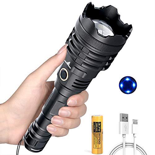 Torcia LED Super Luminosa da 12000 Lumen, Torcia Ricaricabile con Batteria da 5000mAh, 5 Modalità, Zoom Telescopico, TorciaMilitareProfessionale per Campeggio, Osservazione Notturna, Emergenza