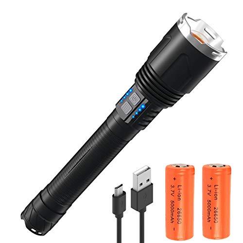 Torcia LED Xhp110 per Torcia Ricaricabile ad Alta Potenza Super Luminoso 25000 Lumens, 3 Modalità di Luce Zoomabile Impermeabile IPX4 Lampada per Campeggio, Escursionismo, Emergenza