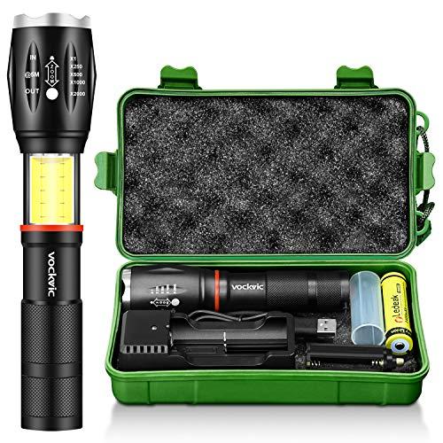 Torcia Tattica LED, Vockvic CREE 1000 lumen Torcia elettrica alta potenza Super Luminosa con base magnetica, 6 modalità Impermeabile tascabile, 18650 batteria ricaricabile + caricatore USB incluso