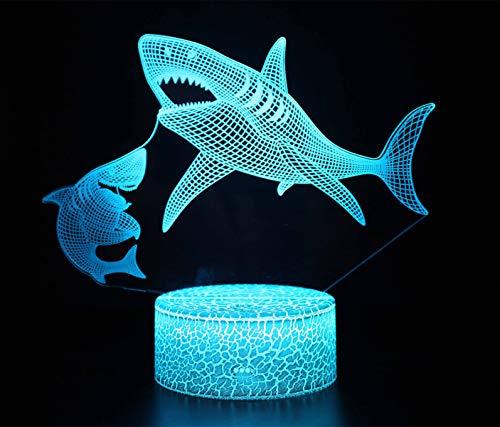 TourKing Lampada per Illusione Ottica 3D Lampada per Illusione a Luce Notturna a LED 16 Lampada Decorativa per Cambio Colore con Telecomando Regali Perfetti per Bambini (squalo)