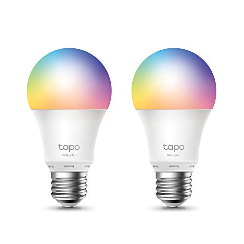 TP-Link Lampadina WiFi Intelligente LED Smart Multicolore, E27 Lampadina Compatibile con Alexa e Google Home, 806 lumen, 8.7W, Senza hub richiesto, Controllo Remoto tramite APP Tapo, 2pz (Tapo L530E)
