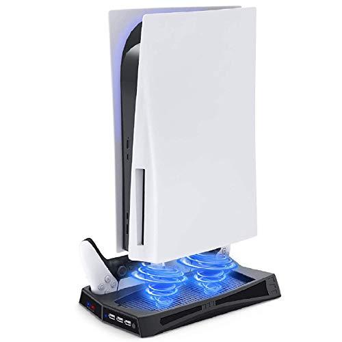 TPFOON Supporto Verticale con Ventola di Raffreddamento Per PS5 Digital Edition e PS5 Ultra HD, Inclusi 3 Porte USB e Doppia Stazione di Ricarica per controller Playstation 5