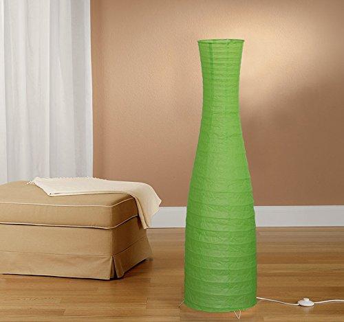 Trango Lampada da terra di design moderno I lampada di carta di riso a forma di bottiglia verde TG1231-027G alta 125 cm come salotto Deco lampada I paralume