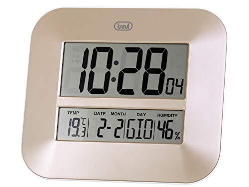 Trevi OM 3520 D Orologio Digitale con Grande Display LCD da Muro, Termometro, Calendario Multilingue, Installazione a Parete o Tavolo, Oro