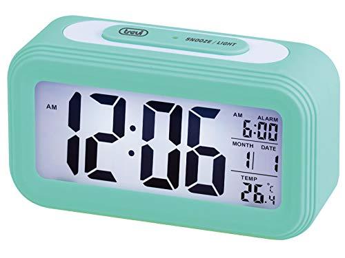 Trevi SLD 3068 S Orologio Termometro Digitale con Sveglia, Grande Display LCD, Calendario, Sensore per Illuminazione Automatica, Funzione Snooze, Turchese, Unica