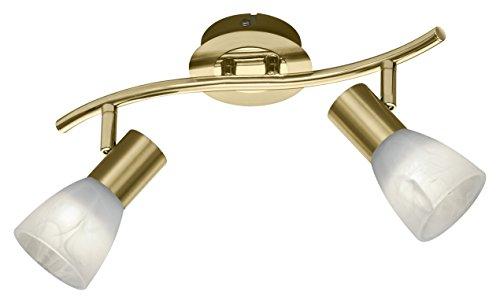 Trio Leuchten Trio 871010208 Levisto Faretto LED, 2x6 Watt, Ottone Satinato/Alabastro, 33x10x19 cm E14, 6 W, 2-flammig
