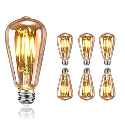 tronisky Lampadina Vintage Edison, E27 Lampadina LED Edison Vintage 4W (equivalenti a 40W) Filamento Luce Bianco Calda 2700K Lampadine Decorativa Retro Nostalgica Stile - 6 Pezzi