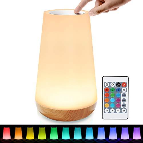 tronisky Luce Notturna LED, Lampada da Comodino Controllo Tattile Dimmerabile con 13 RGB Colori, USB Ricaricabile Luce Notturna Bambini LED con Telecomando per Camera da Letto, Campeggio
