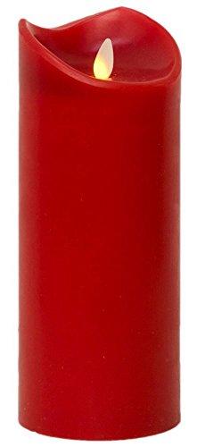 Tronje Candela LED realistica luce tremolante incl timer cilindro di cera Rosso 23cm Ø9,5cm senza fiamma
