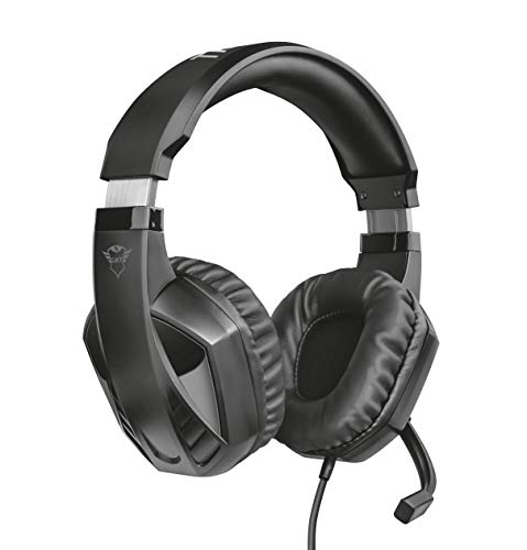 Trust Cuffie Gaming GXT 412 Celaz con Microfono a Scomparsa, 3.5 mm Jack, Filo, Over Ear, Unità Altoparlanti Attive da 50 mm, PC, PS4, PS5, Xbox Series X, Xbox One, Switch, Nero