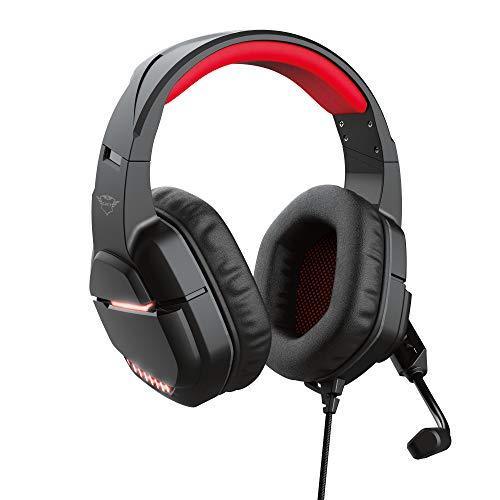 Trust Gaming Cuffie PC illuminate GXT 448 Nixxo con Microfono Flessibile, illuminati a LED, Cavo a treccia 2.3 m, USB, Aux, 3,5 mm, Morbidi Padiglioni Imbottiti Over-Ear, Laptop/PC