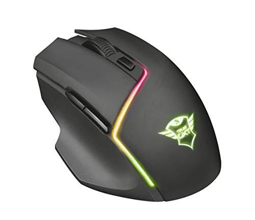 Trust Gaming GXT 161 Mouse da Gioco Wireless con Batteria Ricaricabile Integrata e Illuminazione RBG, Sensore Ottico 3.000 DPI, Nero