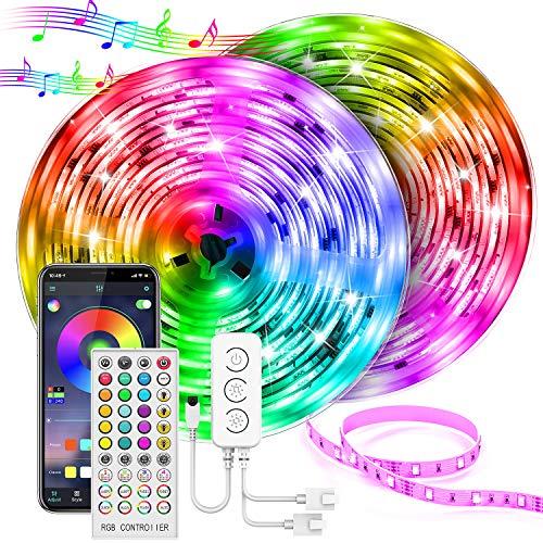 UALAU Strisce LED 20M, Striscia LED RGB con Controllo App e Telecomando, Sincronizza con la Musica Luci LED RGB con 600 LEDs 5050 SMD Striscia LED per Decorazioni, Cucina, Bar, Festa