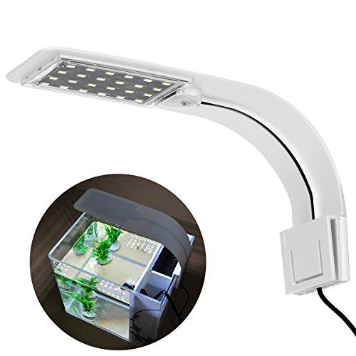 UEETEK LED Luce dell'acquario,Super Sottile Clip-on Lampada con Spina EU per Acquario (Luce Bianca)