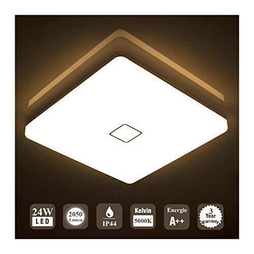 Öuesen 24W LED Lampada Plafoniera impermeabile a soffitto sottile Bianco caldo 3000K per soggiorno Sala da pranzo Camera da letto Bagno Cucina Balcone Corridoio