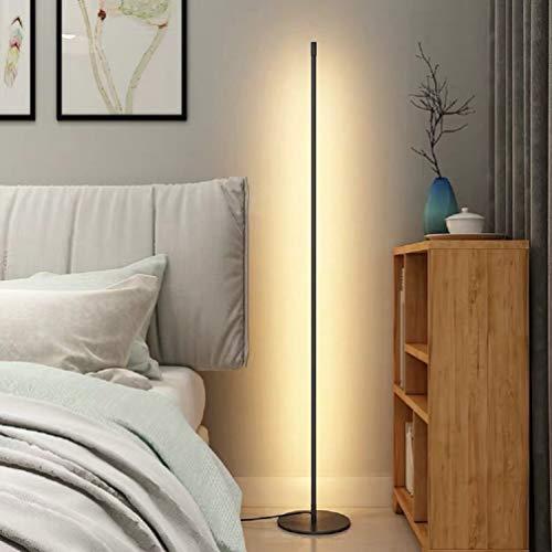 UFLIZOGH Lampada da Terra Led con Interruttore Touchdimmer 150CM Lampada 16W 3000K per Soggiorno Camera da Letto Ufficio Studio Nera