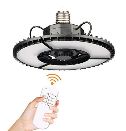 UFO Lampada da Garage 80W, 12000lm 6500K Plafoniera a Led da Garage con 3 Pannelli Regolabili E26/E27, Luci da Garage Risparmio Energetico Lampadine per Magazzino Cantina Officina Illuminazione