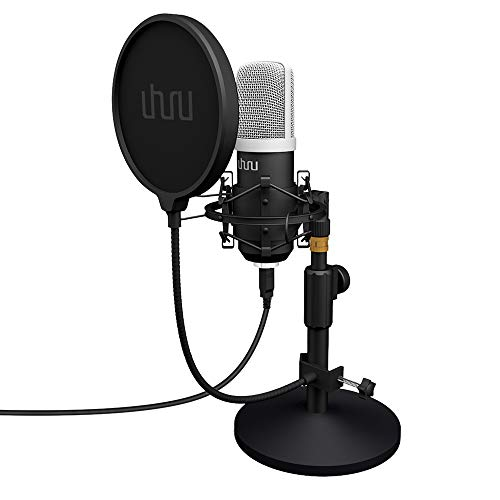 UHURU Microfono Podcast, USB per PC Kit Microfono a Condensatore Professionale 192Khz/24 Bit con Supporto da Scrivania, Filtro Pod Compatibile con PC, Laptop, Canto,Youtube,Casa Streaming,Gaming