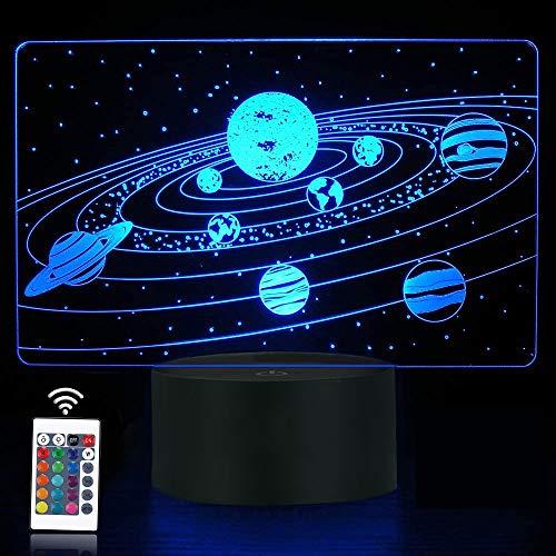 Universo 3D Illusion Luce Notturna, Sistema Solare Ologramma Lampada da Comodino con Telecomando 16 Colori Cambianti, Cool Novità Arredamento Camera Migliore Festival Compleanno Ragazza Ragazza