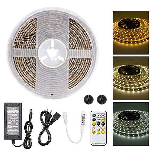 URAQT Nastri LED, Striscia LED 5050 Impermeabile contro 300 Chips e RF Telecomando a 15 Tasti, Strisce Luminose per Casa, Cucina, Decorazione Esterna [Classe di Efficienza Energetica A]