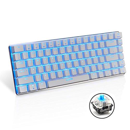Urchoiceltd® Ajazz AK33 Geek LED retroilluminato anti-ghosting USB Wired Gaming tastiera meccanica blu/nero interruttori per ufficio, Dattilografi e giocare (Bianca/Interruttore blu)