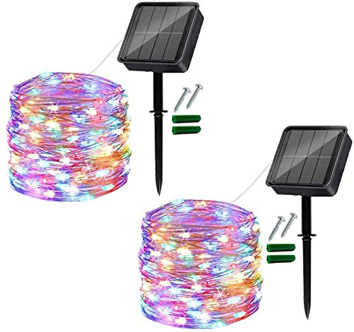 Usa [2 pezzi] catena luminosa solare per esterni, catena luminosa LED per esterni 12M 120, utilizzata per balcone, decorazione del giardino, alberi, terrazza, matrimonio, festa (rosa)