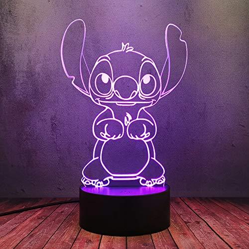 USB Plug 16 Color Shine Night Light LED Cartoon Carino Anime Stitch Puppy Doll Creativo 3D Lampada Da Tavolo Lava Flash Luci Bambino Sonno Illuminazione Casa Camera Da Letto Arte Decor Regalo Di