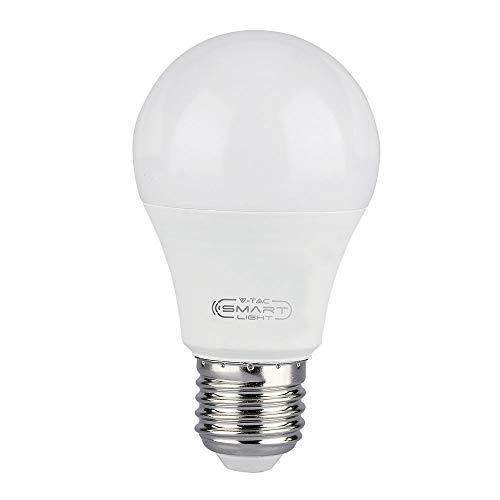 V-TAC - Lampadina LED Smart WiFi, RGB bianco e multicolore, dimmerabile, compatibile con Alexa e Google Home, nessun hub richiesto, Rgb + 2700 K - 6400 K, 11 W - E27, E27 11 W 230 V