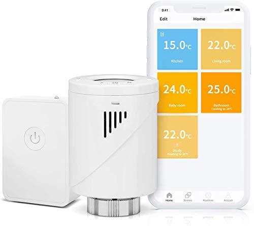 Valvola Termostatica Intelligente Wifi Display LCD, Hub Compreso, Programmabile tramite APP Controllo Remoto Compatibile con Amazon Alexa, Google Assistant e IFTTT, MTS100H, Meross
