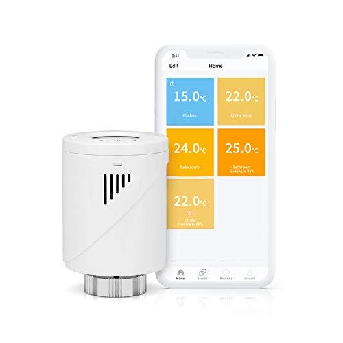 Valvola Termostatica Intelligente Wifi Display LCD Senza Hub, Programmabile tramite APP Compatibile con Amazon Alexa, Google Assistant e IFTTT, MTS100, Hub Meross Richiesto, Meross