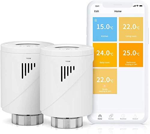 Valvola Termostatica Intelligente Wifi Display LCD Senza Hub, Programmabile tramite APP Compatibile con Amazon Alexa, Google Assistant, MTS100, Hub Meross Richiesto, 2 Pezzi