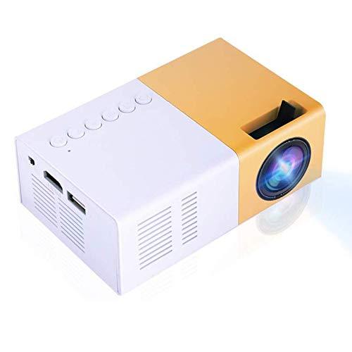VBESTLIFE Mini Proiettore Videoproiettore Portatile a LED Lettore Multimediale Portatile Elegante Home Theater HD Supporto 1080P HDMI VGA Multimedia Player (Bianco-Giallo)