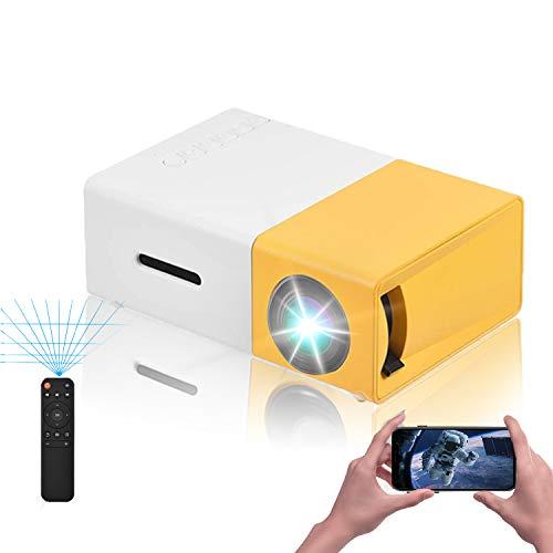 VBESTLIFE Mini Proiettore Videoproiettore Portatile a LED Mini Home Theater Supporto HD 1080P HDMI AV USB Multimedia Player Lettore Multimediale Portatile (Giallo+Bianco)